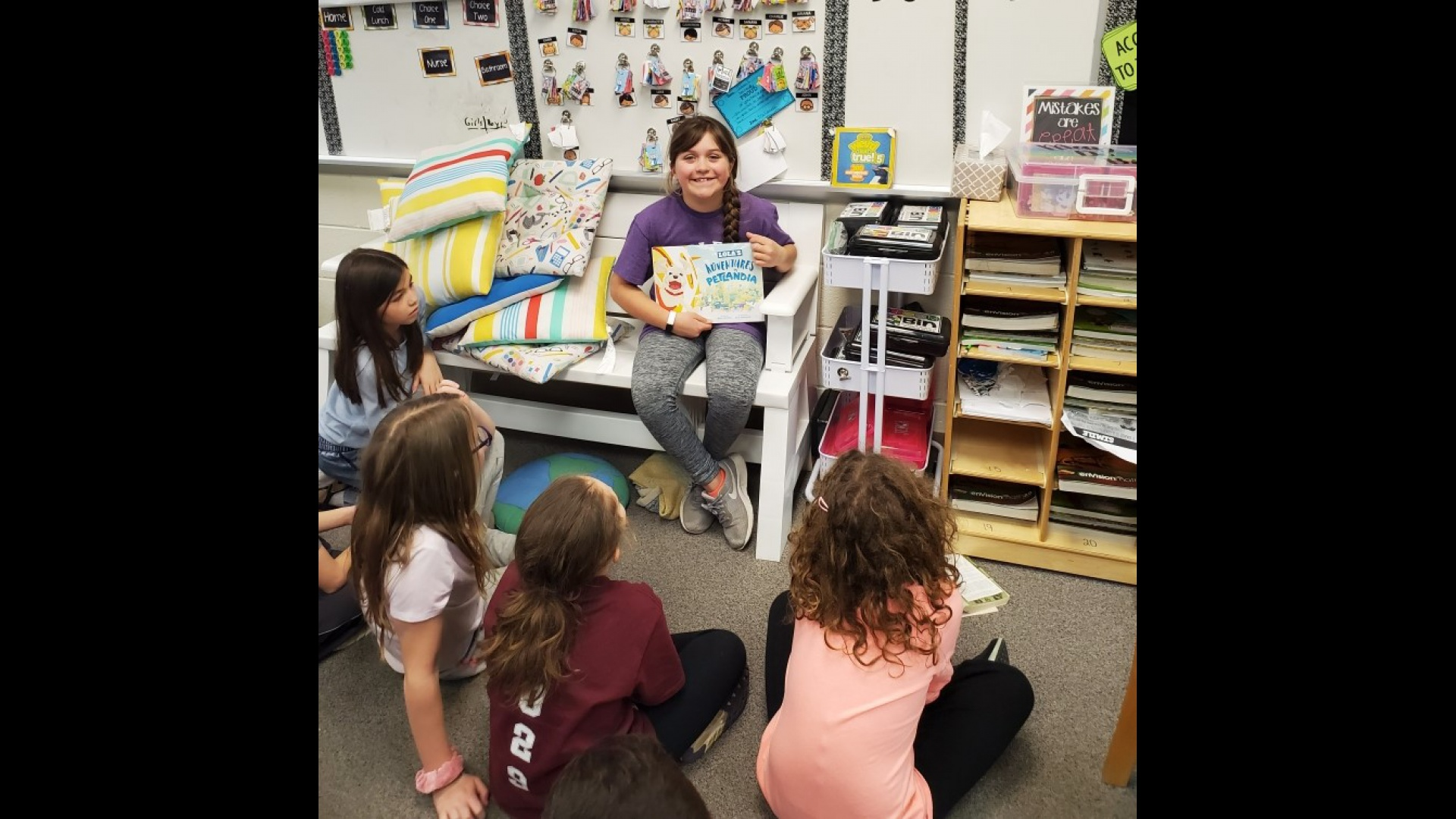 Sharing a book with third graders